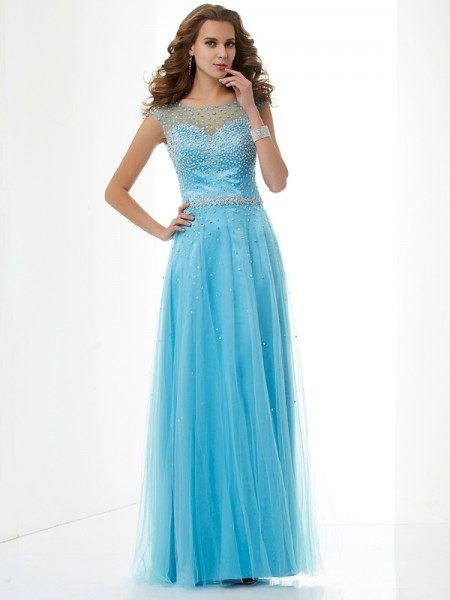 Sheath/Column High Neck Beading Long Net Dress