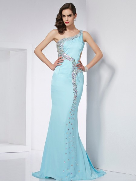 Trumpet/Mermaid One-Shoulder Beading Dress with Long Chiffon