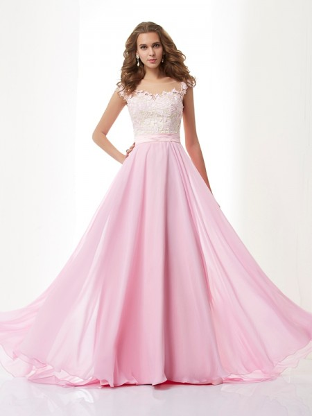 A-Line/Princess Straps Applique Beading Dress with Long Chiffon