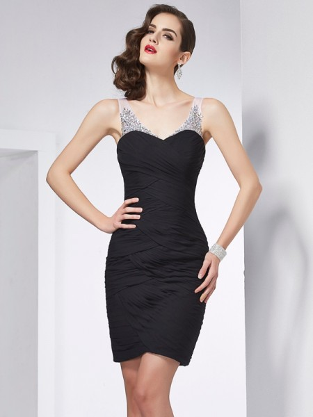 Sheath/Column Straps Beading Short Chiffon Homecoming Dress