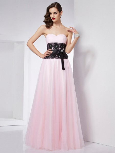 A-Line/Princess Sweetheart Lace Long Net Dress