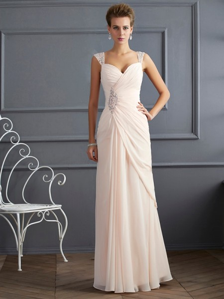 71d94514a6f Sheath Column Straps Beading Sleeveless Long Chiffon Dresses