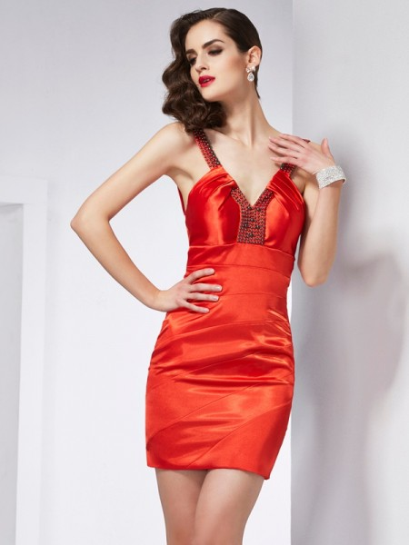 Sheath/Column V-neck Beading Short Elastic Woven Satin Homecoming Dress