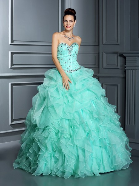 Ball Gown Sweetheart Beading Long Organza Quinceanera Dress