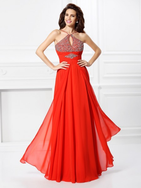 A-Line/Princess Beading Dress with Long Chiffon