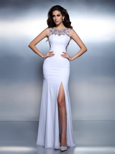 Trumpet/Mermaid Bateau Beading Dress with Long Chiffon