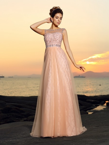 A-Line/Princess Bateau Lace Dress with Long Chiffon