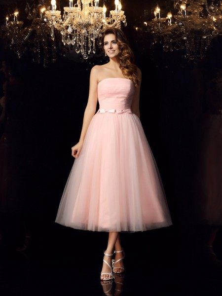 Ball Gown Strapless Sash/Ribbon/Belt Short Satin Quinceanera Dress