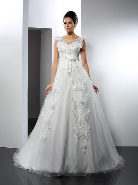 A-Line/Princess Straps Lace Long Satin Wedding Dress