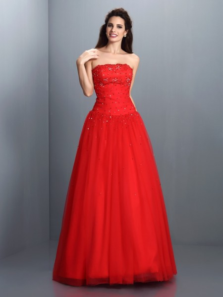Ball Gown Strapless Beading Long Organza Quinceanera Dress