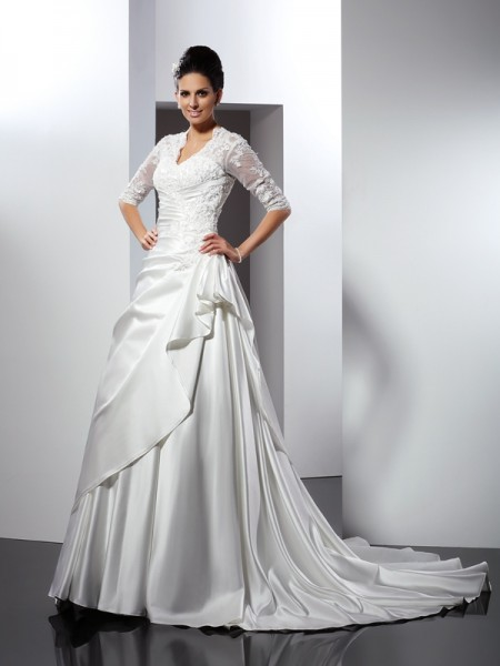 A-Line/Princess V-neck Applique 1/2 Sleeves Long Satin Wedding Dress