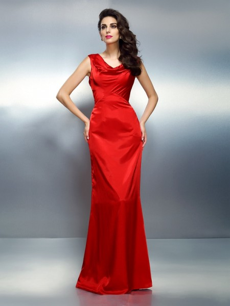 Trumpet/Mermaid V-neck Long Silk like Satin Dress