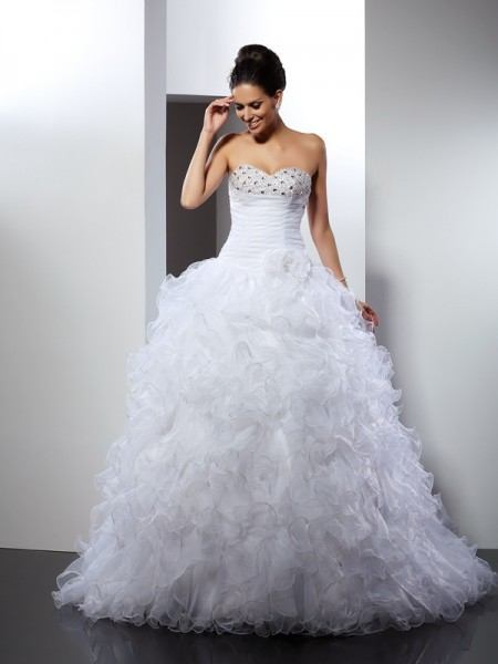 Ball Gown Sweetheart Beading Long Organza Wedding Dress