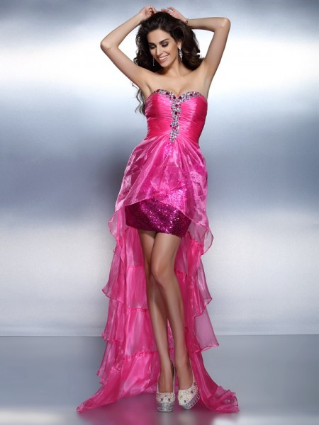 Sheath/Column Sweetheart Beading High Low Organza Cocktail Dress