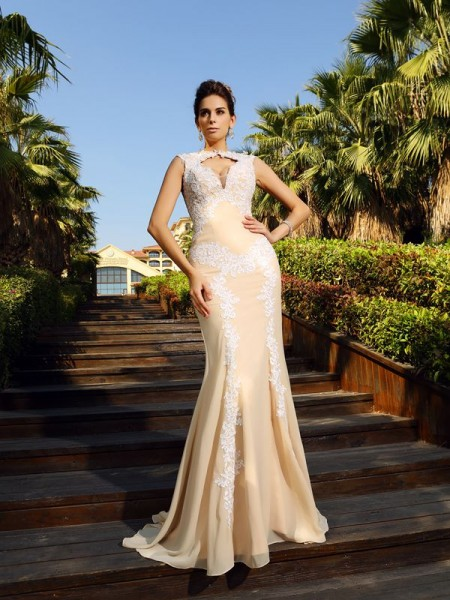 Sheath/Column High Neck Applique Dress with Long Chiffon