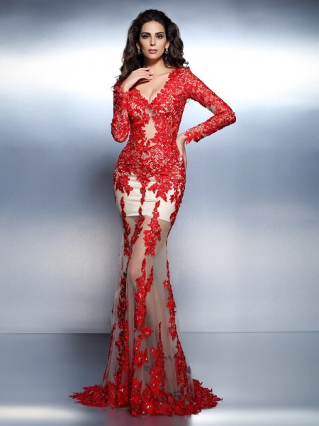Trumpet/Mermaid V-neck Applique Long Sleeves Long Lace Dress
