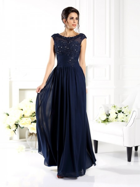 A-Line/Princess Scoop Beading Mother of the Bride Dress with Long Chiffon