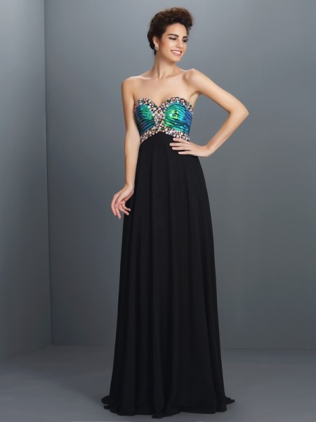 A-Line/Princess Sweetheart Paillette Dress with Long Chiffon