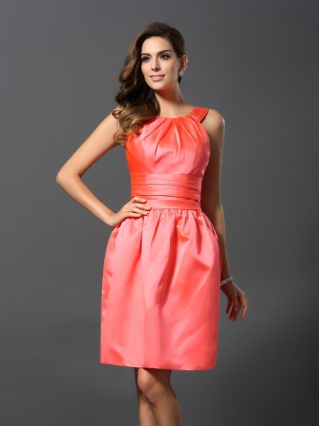 A-Line/Princess Bateau Short Satin Bridesmaid Dress
