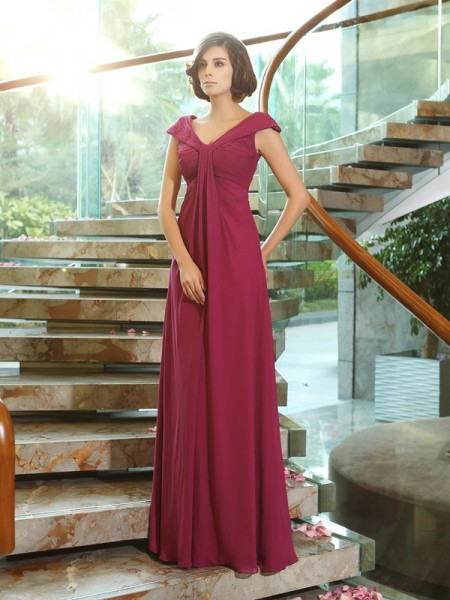 A-Line/Princess V-neck Bridesmaid Dress with Long Chiffon