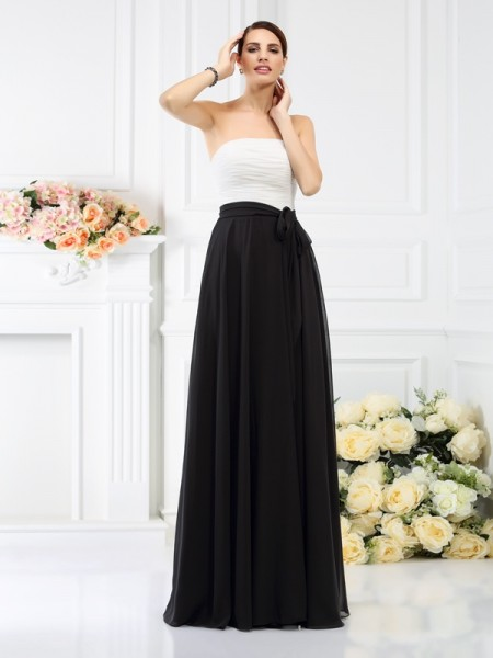 A-Line/Princess Strapless Sash/Ribbon/Belt Bridesmaid Dress with Long Chiffon