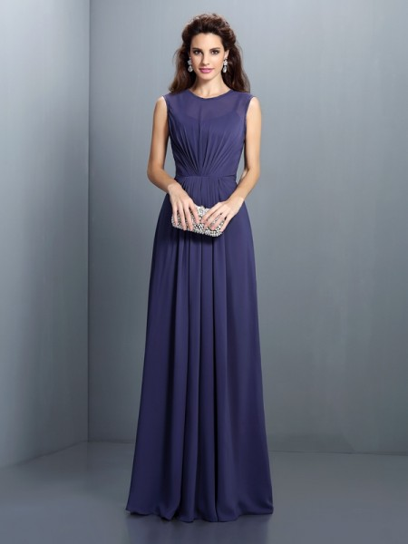 A-Line/Princess High Neck Pleats Bridesmaid Dress with Long Chiffon