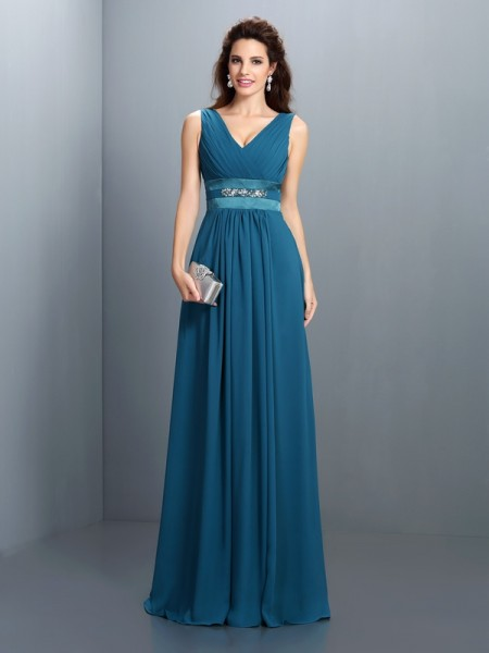 A-Line/Princess V-neck Beading Bridesmaid Dress with Long Chiffon