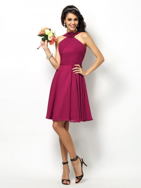 A-Line/Princess High Neck Pleats Short Chiffon Bridesmaid Dress