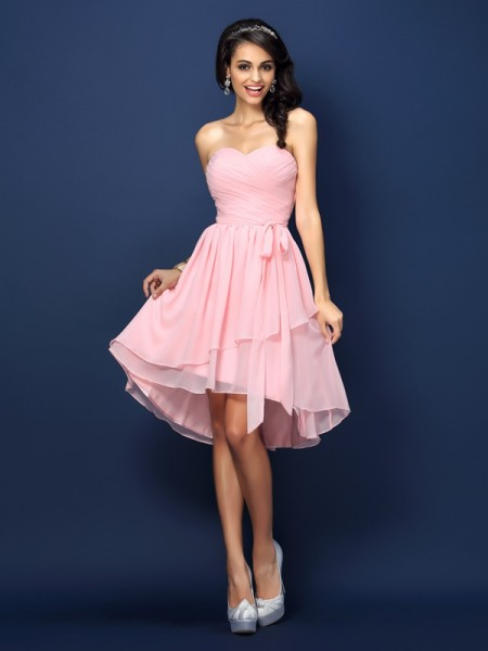 A-Line/Princess Sweetheart Pleats Bowknot Short Chiffon Bridesmaid Dress