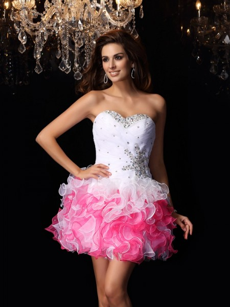 A-Line/Princess Sweetheart Ruffles Short Organza Cocktail Dress