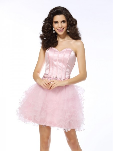 A-Line/Princess Sweetheart Ruffles Short Net Cocktail Dress