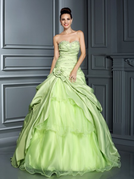 Ball Gown Sweetheart Long Taffeta Quinceanera Dress