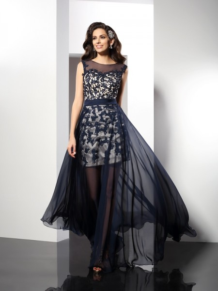 A-Line/Princess Scoop Long Elastic Woven Satin Dress
