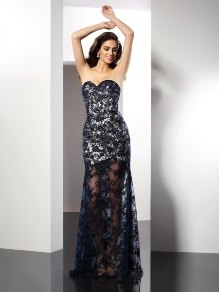 Sheath/Column Sweetheart Lace Long Satin Dress