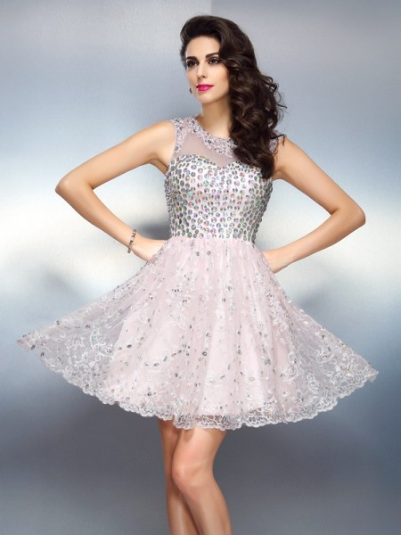 A-Line/Princess Bateau Beading Short Satin Cocktail Dress
