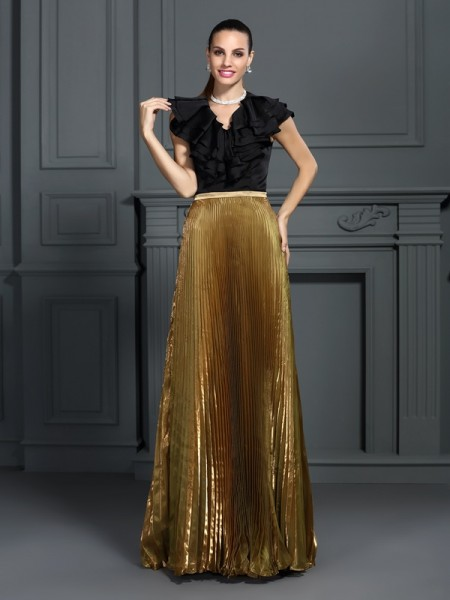 A-Line/Princess V-neck Pleats Long Tulle Dress