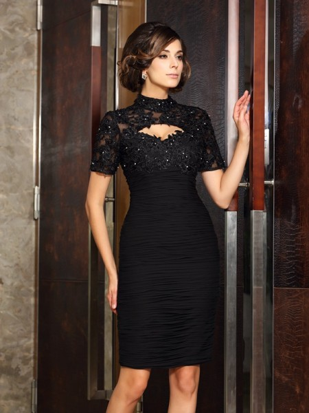 Sheath/Column High Neck Beading Short Sleeves Short Chiffon Mother of the Bride Dress