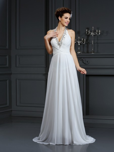 A-Line/Princess Halter Beading Wedding Dress with Long Chiffon