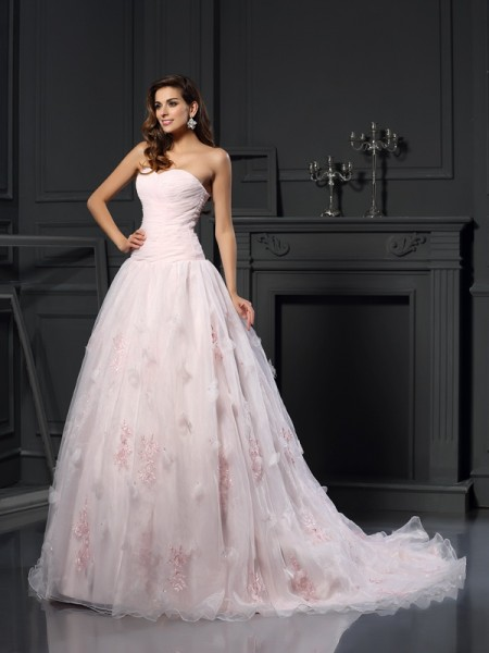 Ball Gown Sweetheart Ruffles Long Satin Wedding Dress