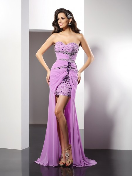Sheath/Column Sweetheart Beading Long Silk like Satin Dress
