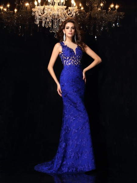 Trumpet/Mermaid High Neck Lace Long Satin Dress