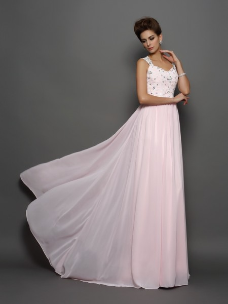 A-Line/Princess Straps Beading Applique Dress with Long Chiffon