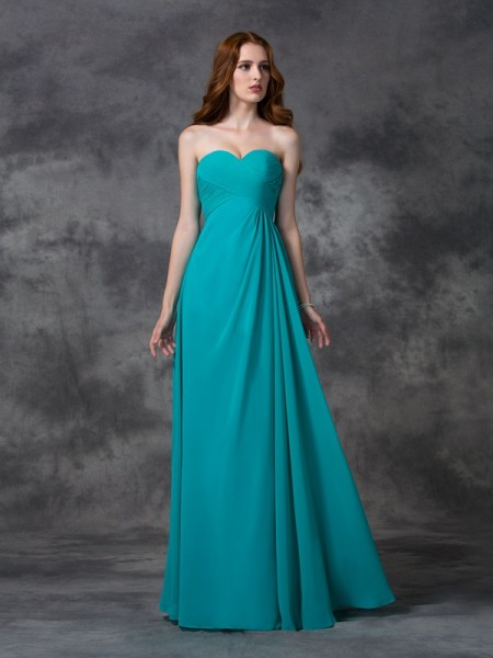 A-line/Princess Sweetheart Long Ruffles Chiffon Bridesmaid Dress