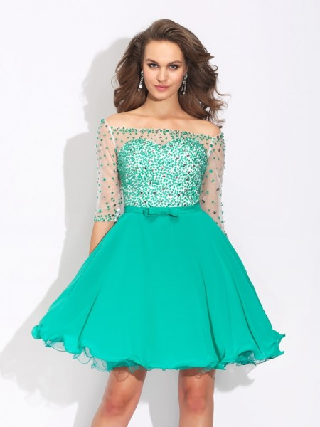A-Line/Princess Beading 1/2 Sleeves Short Chiffon Dress
