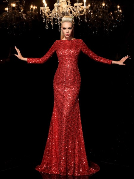 Sheath/Column Scoop Sequin Long Sleeves Long Sequins Dress