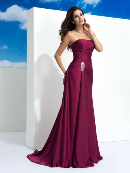 A-Line/Princess Strapless Pleats Long Satin Chiffon Dress
