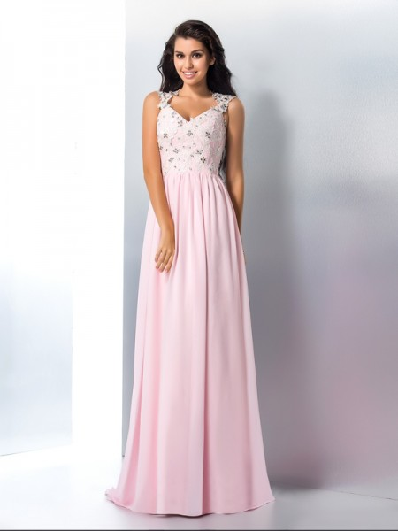 A-Line/Princess V-neck Applique Chiffon Dress