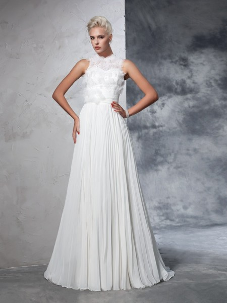 A-Line/Princess High Neck Pleats Chiffon Wedding Dress