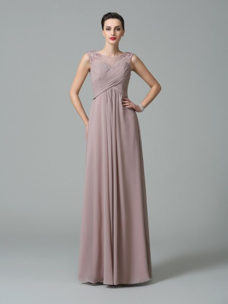 A-Line/Princess Scoop Ruched Chiffon Bridesmaid Dress