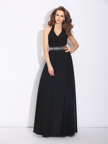 A-Line/Princess Halter Beading Chiffon Bridesmaid Dress